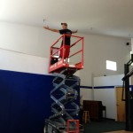 Mr Greg on the Scissor Lift from Allerdice Rent-All